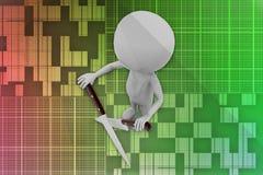 3D man knife cross illustration Royalty Free Stock Images
