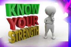 3d man know your strength illustration Stock Images