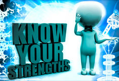 3d man with know your strengths illustration Royalty Free Stock Images