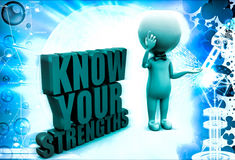 3d man with know your strengths illustration Stock Photo