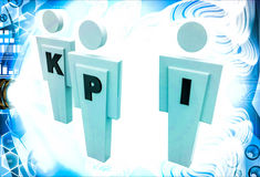 3d man with KPI text on him illustration Royalty Free Stock Images