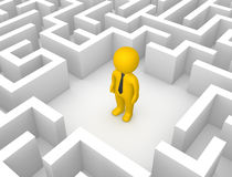 3d man in the labyrinth. 3d render Royalty Free Stock Image