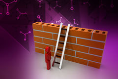 3d man with ladder behind the wall. In color background Stock Photos