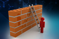 3d man with ladder behind the wall. In color background Royalty Free Stock Images