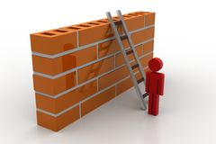 3d man with ladder behind the wall. In white background Stock Image