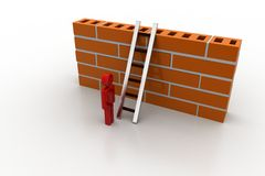 3d man with ladder behind the wall. In white background Royalty Free Stock Images