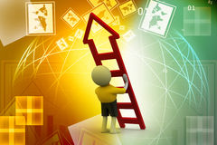 3d man with ladder. In color background Royalty Free Stock Photography
