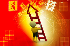 3d man with ladder. In color background Royalty Free Stock Photos