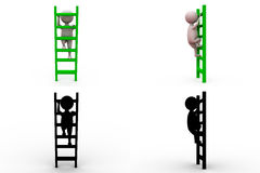 3d man ladder concept collections with alpha and shadow channel Royalty Free Stock Image