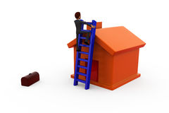 3d man ladder of house concept Royalty Free Stock Photo