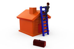 3d man ladder of house concept Stock Image