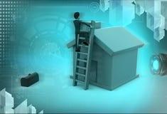 3d man ladder of house illustration Stock Photo