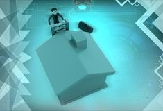 3d man ladder of house illustration Royalty Free Stock Photography