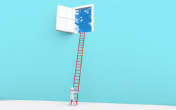 3d man with ladder to a door in sky. 3d render of a man with ladder to a door in sky Royalty Free Stock Image