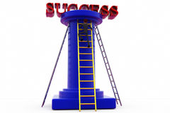 3d man ladder to success concept Royalty Free Stock Photography