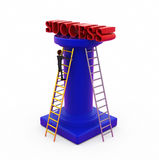 3d man ladder to success concept Stock Images