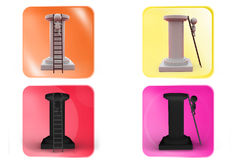3d man ladder to top icon Royalty Free Stock Photos