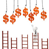 3d man on ladder trying to catch money from above Royalty Free Stock Image