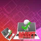 3D man with laptop - accept illustration Stock Images