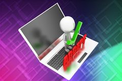 3D man with laptop - accept illustration Royalty Free Stock Photography