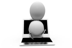 3d man laptop ball concept Royalty Free Stock Photos