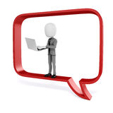 3d man with laptop in a big red bubble talk Royalty Free Stock Photos