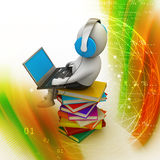 3d man and laptop with books Royalty Free Stock Photos
