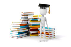 3d man with laptop and books. Education concept Royalty Free Stock Photography