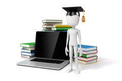 3d man with laptop and books. Education concept Stock Images