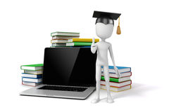 3d man with laptop and books. Education concept Royalty Free Stock Photo
