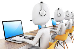 3d man and laptop, call center concept. 3d man and laptop, call center business concept Royalty Free Stock Images