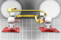 3D man laptop data transfer illustration Stock Photography