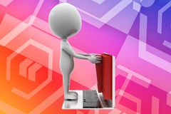 3d man laptop documents illustration Royalty Free Stock Images