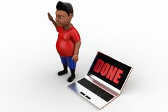3d man laptop done Royalty Free Stock Images