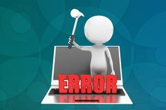 3d man laptop error illustration Stock Image