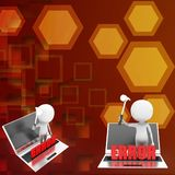 3d man laptop error illustration Royalty Free Stock Images