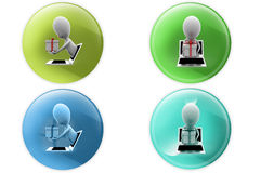 3d man from laptop gift icon Stock Photos