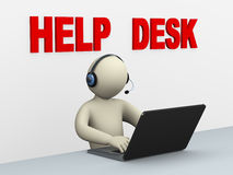 3d man with laptop - help desk. 3d illustration of person with headphone using laptop at help desk call center for customer help and support.  3d rendering of Royalty Free Stock Images
