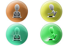 3d man from laptop icon Stock Photo