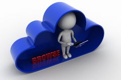 3d man with laptop inside clouds with browse concept Royalty Free Stock Photo