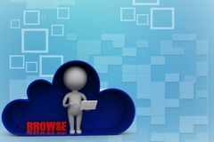 3d man with laptop inside clouds with browse Illustration Royalty Free Stock Photo