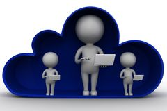3d man with laptop inside clouds Royalty Free Stock Photography