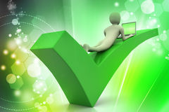 3d man with laptop lying on the right mark Royalty Free Stock Photography