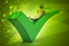 3d man with laptop lying on the right mark. In color background Royalty Free Stock Image