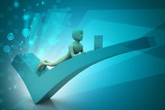 3d man with laptop lying on the right mark. In color background Royalty Free Stock Photos