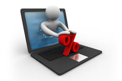 3d man with laptop and percentage symbol. Online shopping royalty free illustration