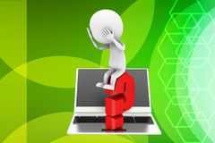 3d man  laptop question mark illustration Stock Image