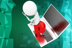 3d man  laptop question mark illustration Royalty Free Stock Image