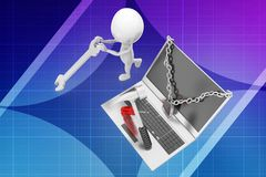 3d man laptop repair illustration Royalty Free Stock Image
