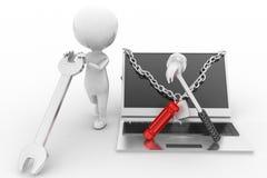 3d man laptop repair illustration Stock Photography